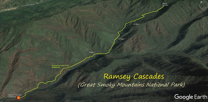 Ramsey Cascades Hike Route Map