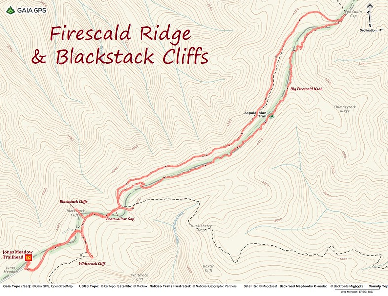 Big Firescald Knob-Blackstack Cliffs-Whiterock Cliff Hike Route Map