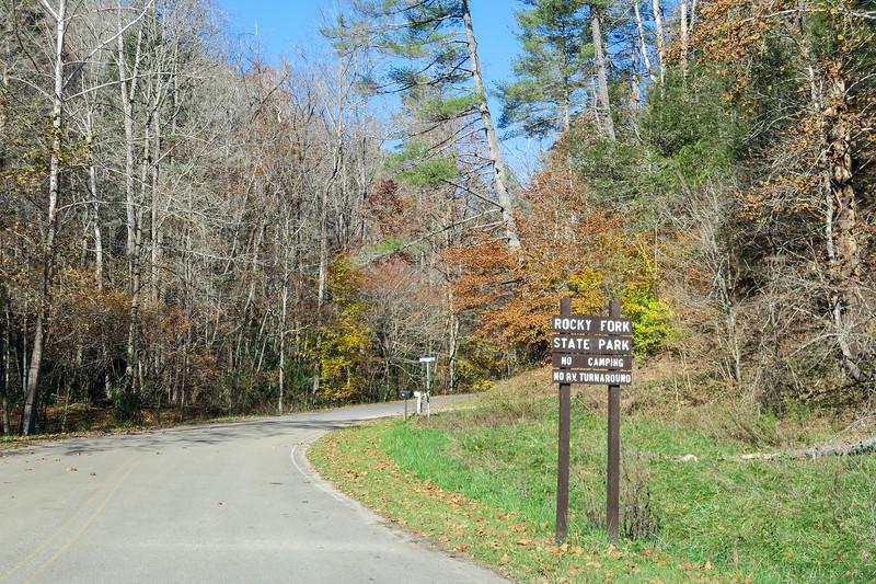 Rocky Fork State Park Entrance -- 2,150'