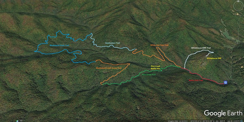 Rocky Fork State Park Loop Hike Route Map