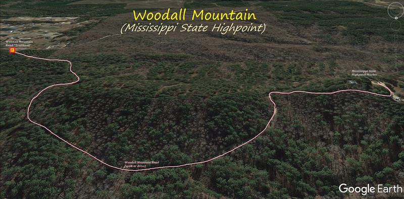 Woodall Mountain Hike Route Map