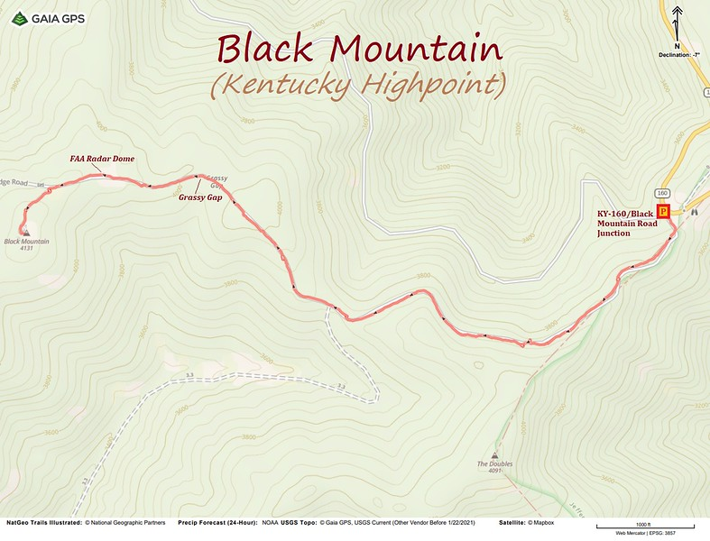 Black Mountain Hike Route Map