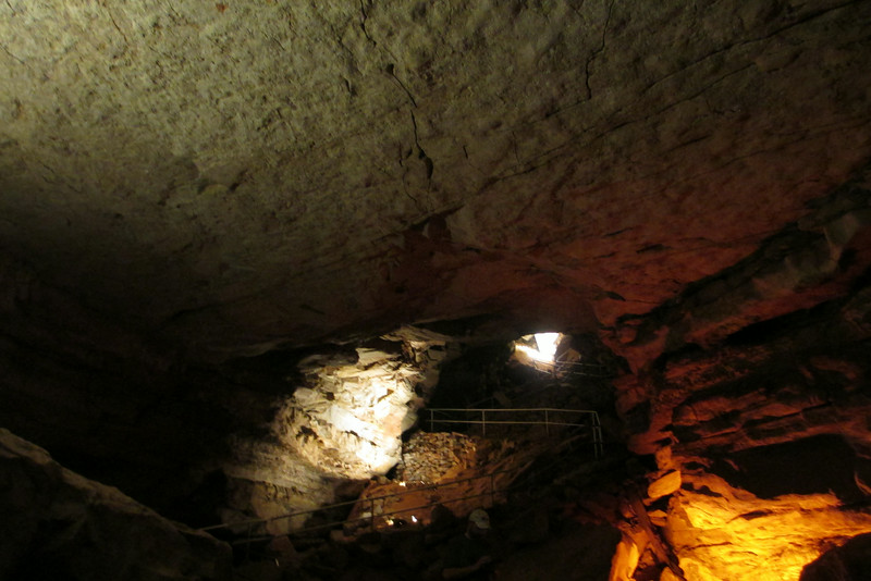 "The first lengthy stop on the tour took place at a set of benches 250-feet beneath the surface in a spot known as ""Grand Central Station"".  Here the guide explained more about the history of the cave and how it was first opened to visitors..."
