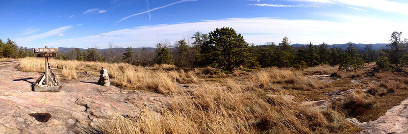 A panoramic shot of the Big Rock/Cedar Rock Trail junction atop Cedar Rock Mountain...