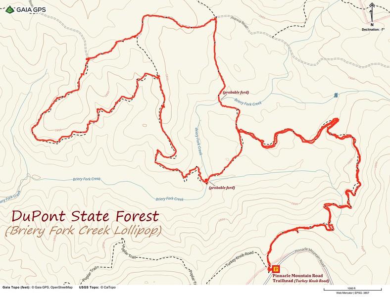 Briery Fork Creek Lollipop Hike Route Map