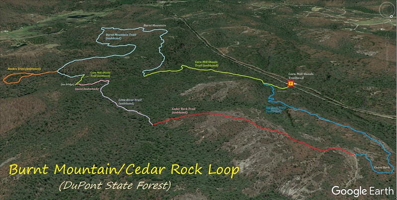 Burnt Mountain/Cedar Rock Loop Hike Route Map