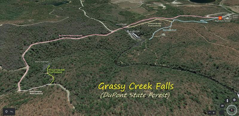 Grassy Creek Falls Hike Route Map