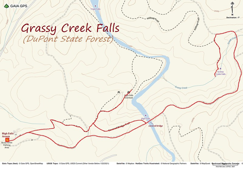 Grassy Creek Falls Hike Route Map