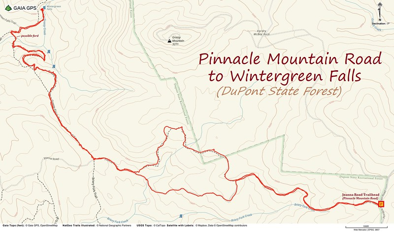 Pinnacle Mountain Road to Wintergreen Falls Hike Route Map