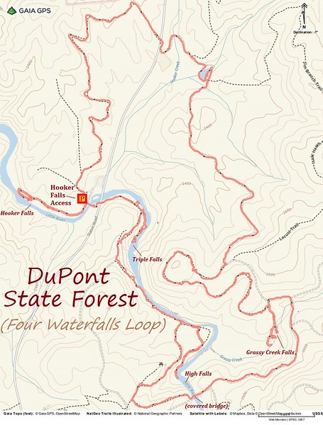 DuPont Four Waterfalls Hike Route Map
