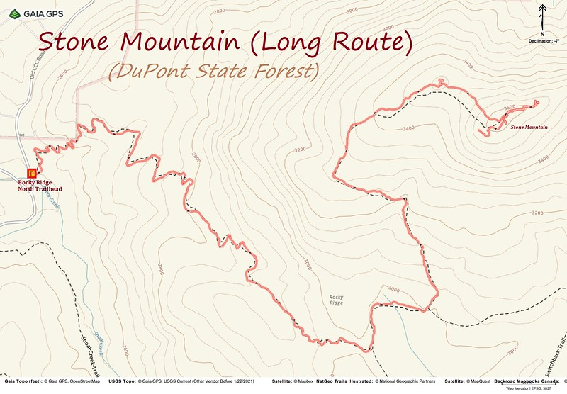 Stone Mountain Hike Route Map