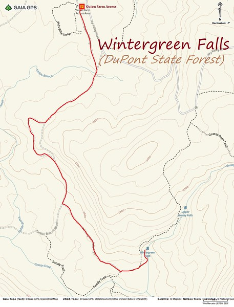 Wintergreen Falls Hike Route Map