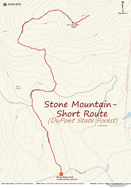 Stone Mountain (DuPont) Hike Route Map