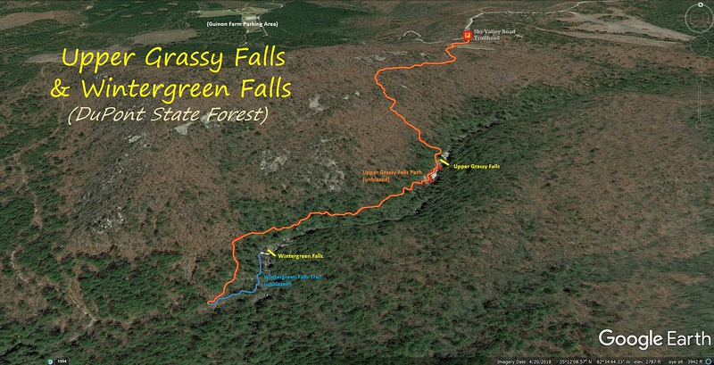 Upper Grassy & Wintergreen Falls Hike Route Map
