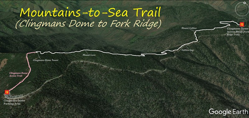 Mountains-to-Sea Trail (Clingmans Dome to Fork Ridge) Hike Route Map