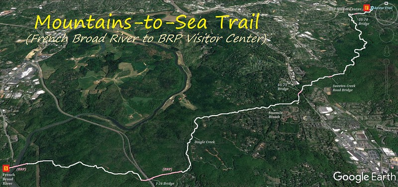Mountains-to-Sea Trail (French Broad River to BRP Visitor Center) Hike Route Map