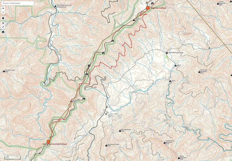 MST - Cherry Cove Overlook to Pisgah Inn Hike Route Map