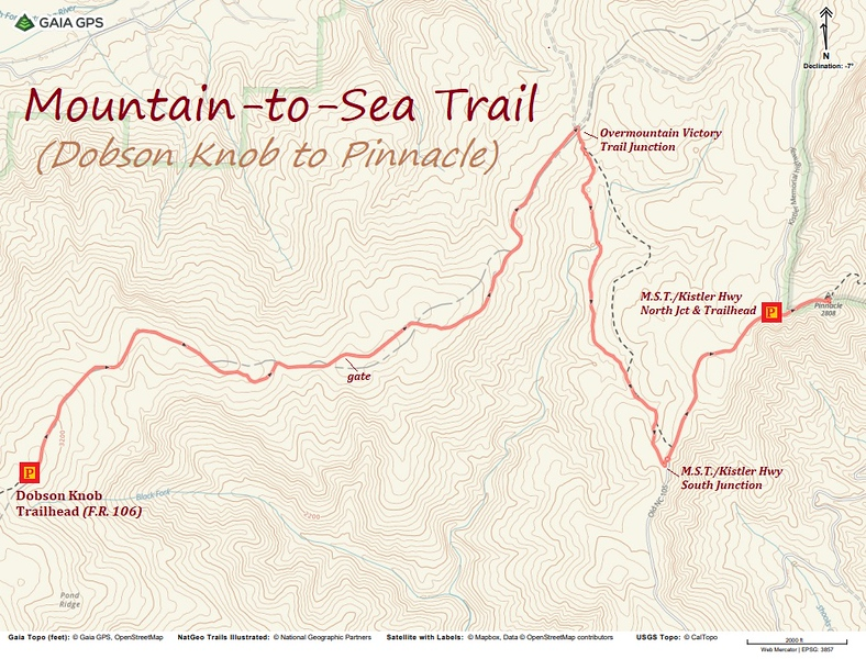 Mountains-to-Sea Trail Section Hike Route Map (Dobson Knob to Pinnacle)