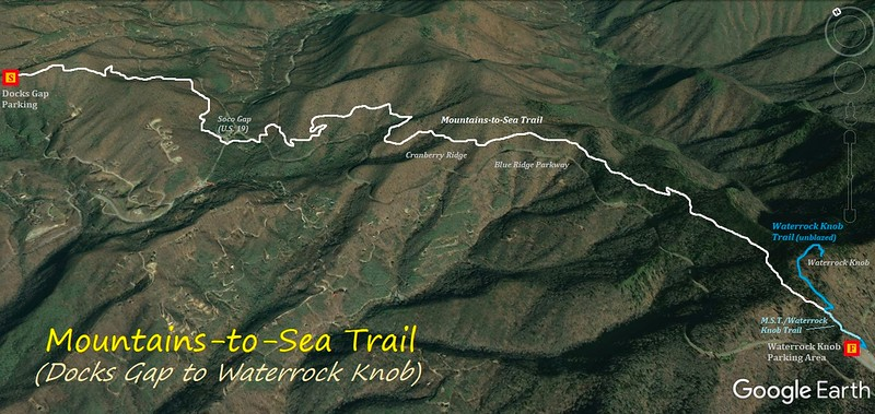 Mountains-to-Sea Trail (Docks Gap to Waterrock Knob) Hike Route Map