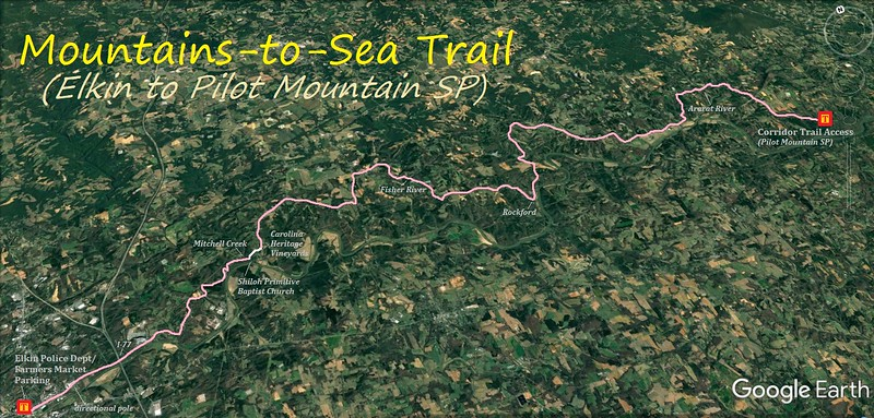MST Section Hike/Ride (Elkin to Pilot Mountain SP) Route Map