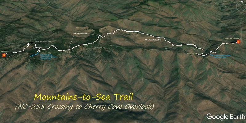 Mountains-to-Sea Trail Hike Route -- NC-215 to Cherry Cove Overlook