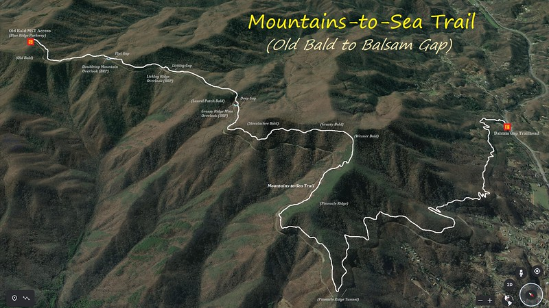 Mountains-to-Sea Trail (Old Bald to Balsam Gap) Hike Route Map