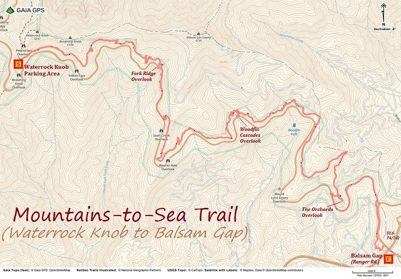 Mountains-to-Sea Trail (Waterrock Knob to Balsam Gap) Hike Route Map