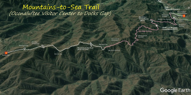 Mountains-to-Sea Trail (Oconaluftee Visitor Center to Docks Gap) Hike Route Map