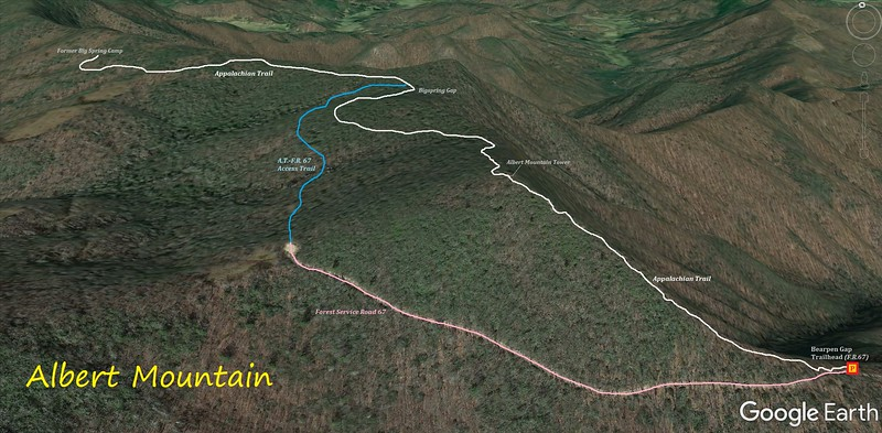 Albert Mountain Loop Hike Route Map