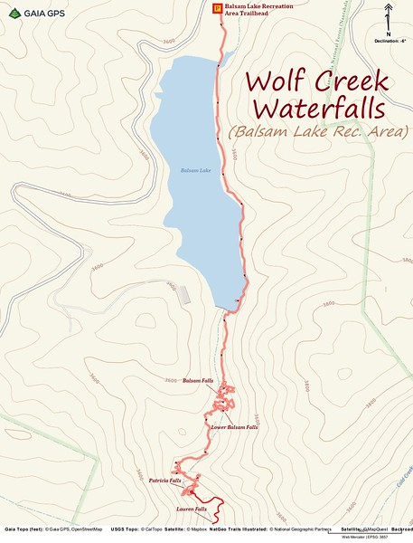 Wolf Creek Waterfalls Hike Route Map