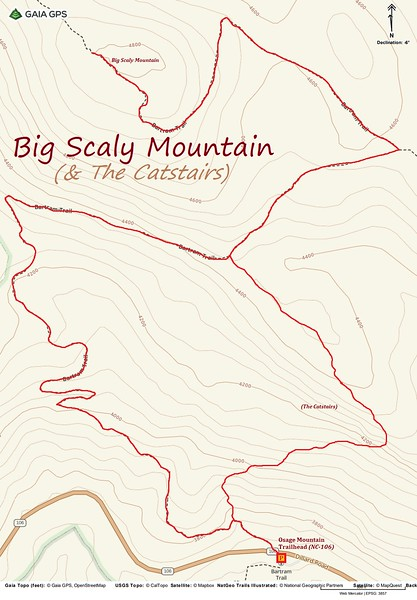 Big Scaly Mountain Hike Route Map