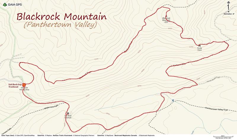 Blackrock Mountain Loop Hike Route Map