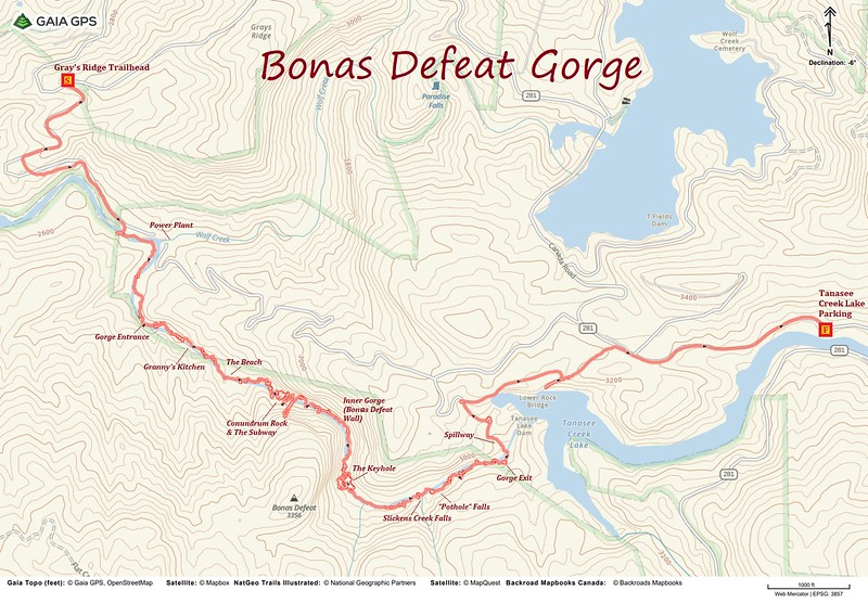 Bonas Defeat Gorge Hike Route Map