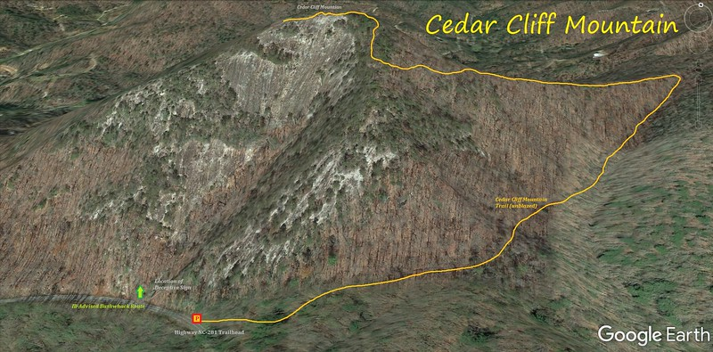 Cedar Cliff Mountain Hike Route Map
