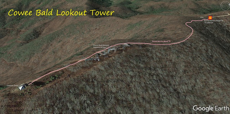 Cowee Bald Lookout Tower Hike Route Map