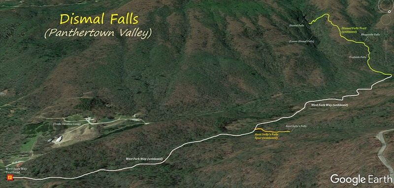 Dismal Falls Hike Route Map
