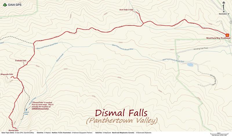 Dismal Falls Hike Route Map