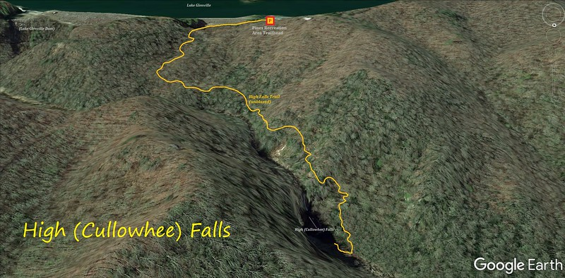 High (Cullowhee) Falls Dam Release Hike Route Map