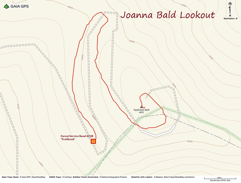 Joanna Bald Lookout Hike Route Map