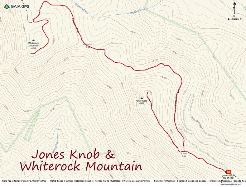 Jones Knob & Whiterock Mountain Hike Route Map