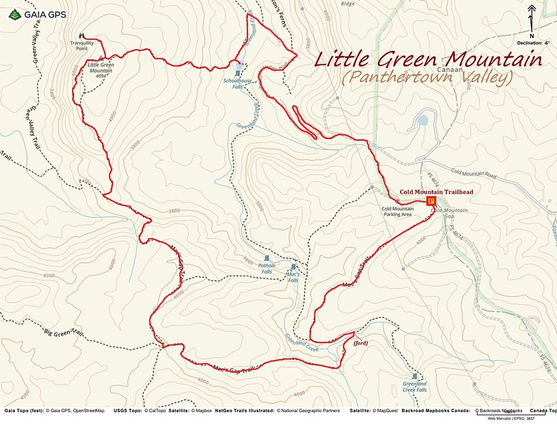 Little Green Mountain Loop Hike Route Map
