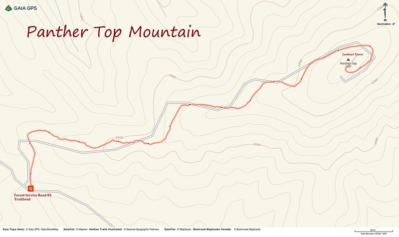 Panther Top Mountain Hike Route Map