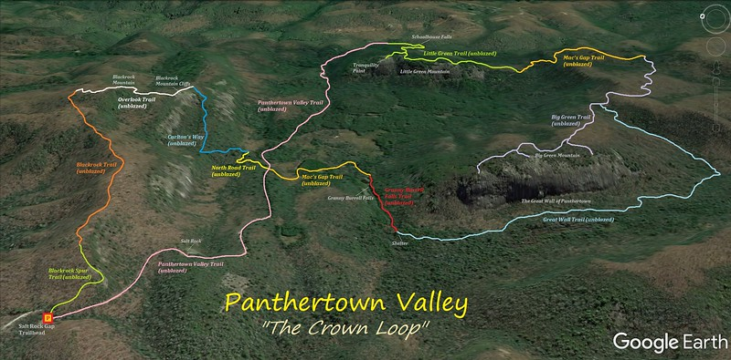 Panthertown Valley Crown Loop Hike Route Map
