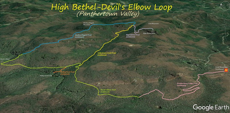 High Bethel/Devil's Elbow Loop Hike Route Map