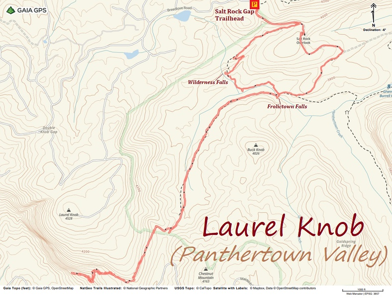 Laurel Knob Hike Route Map