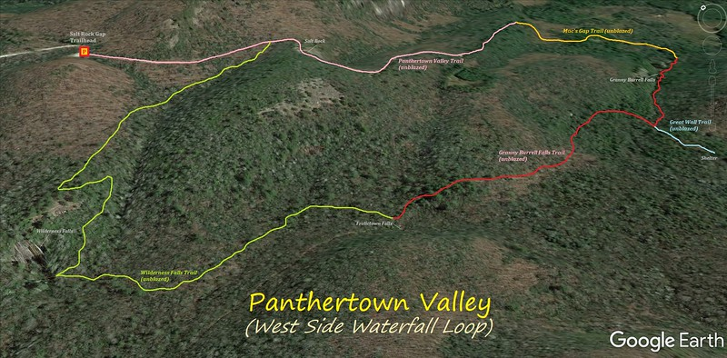 Panthertown West Waterfall Loop Hike Route Map