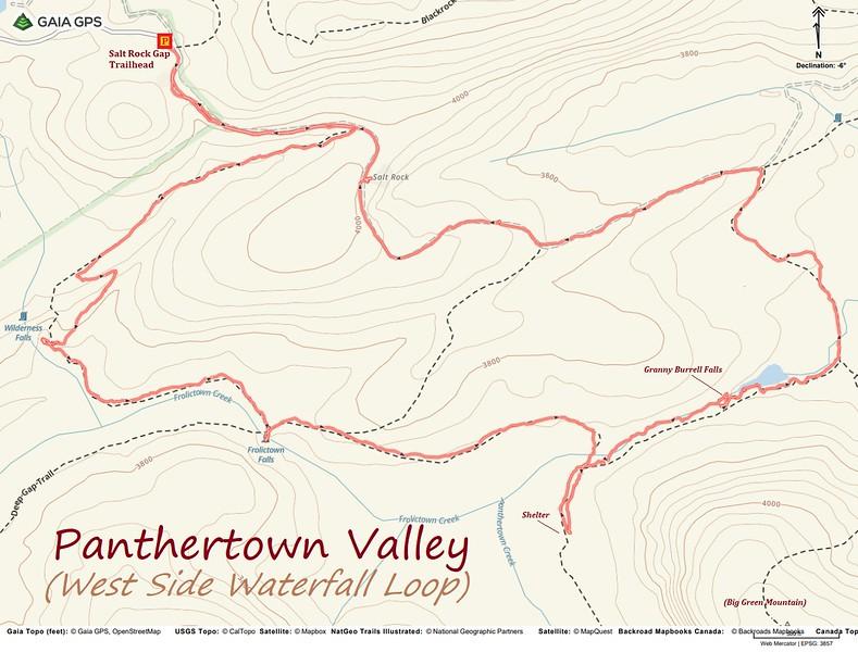Panthertown West Waterfall Loop Hike Route Map