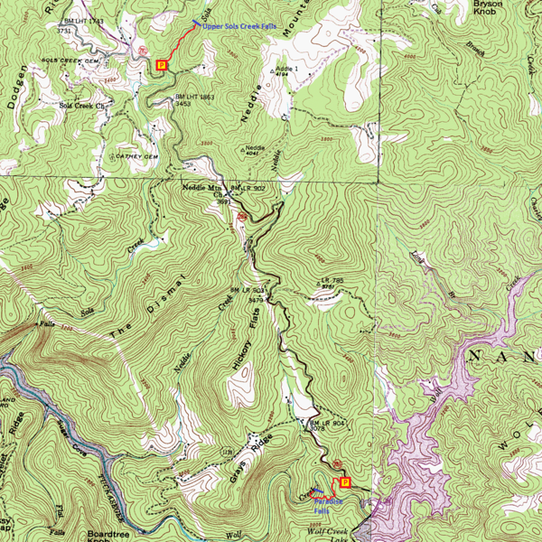 Paradise Falls & Upper Sols Creek Falls Route Map