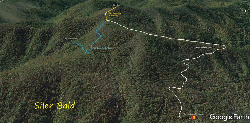 Siler Bald Hike Route Map