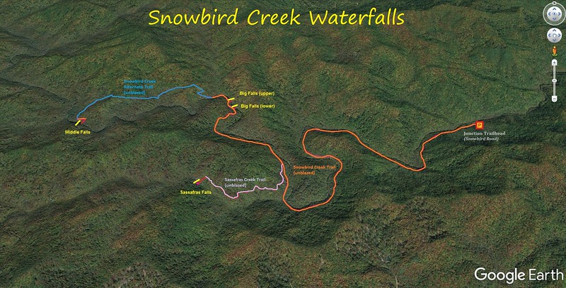 Snowbird Creek Waterfall Hike Route Map